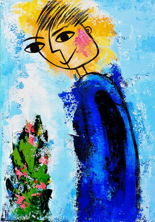איש עם פרח